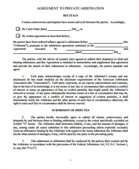 Arbitration Clause For Employment Agreement Example Good Resume