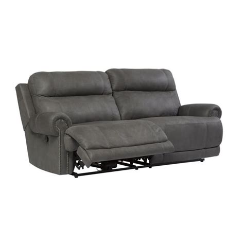 ashley furniture gray reclining sofa ashley furniture austere faux leather reclining sofa in