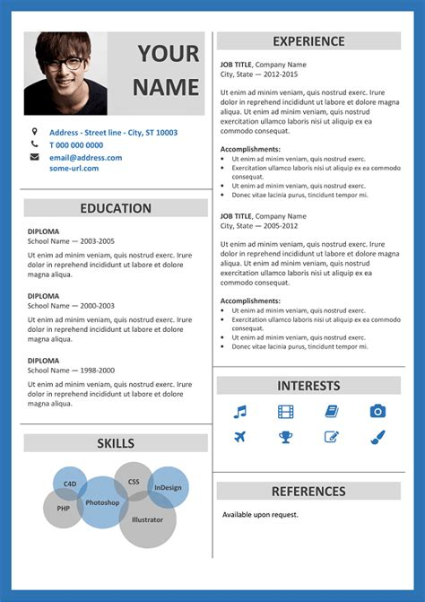 Fitzroy Free Resume Template Microsoft Word Blue Layout Classic Resume Templates In 2018 Resume Template With Border
