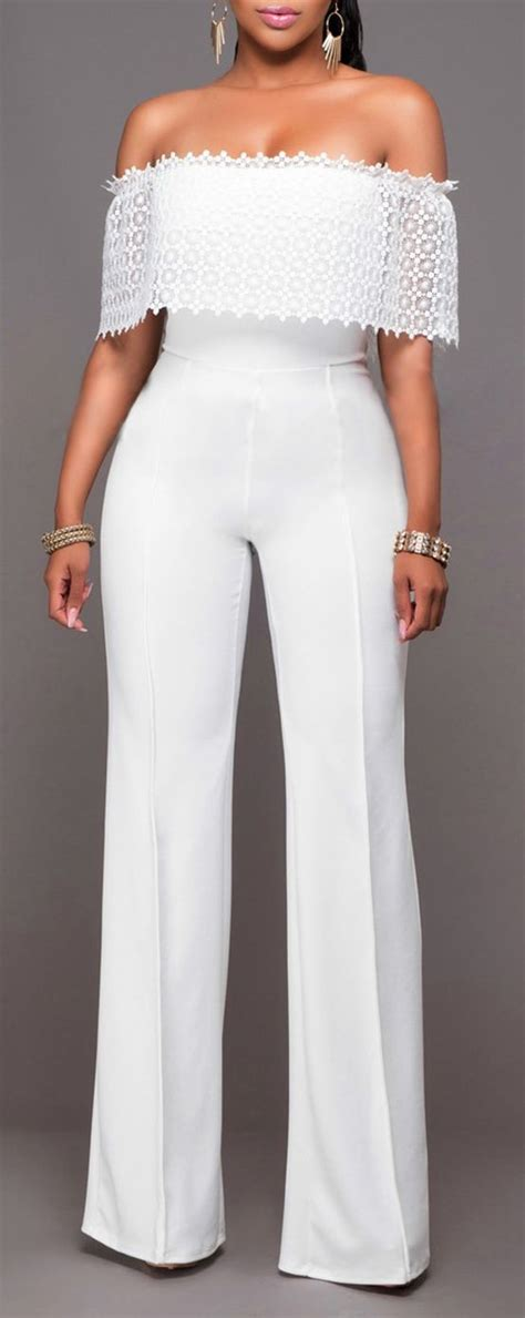 To Trendy White jumpsuit trendy fashion shoulder wide leg