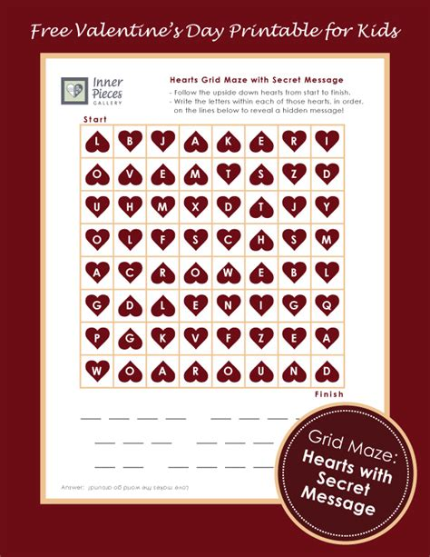 secret s day messages printable hearts grid maze w secret message inner pieces