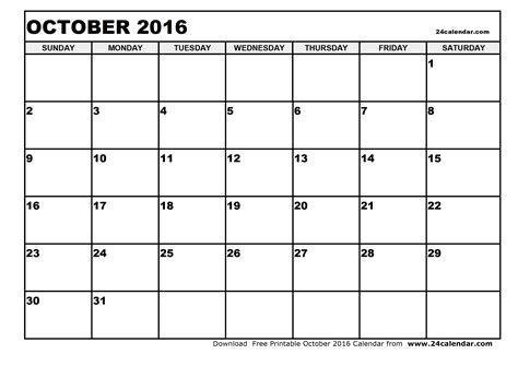 Kalender 2016 Blanko Blank October 2016 Calendar In Printable Format