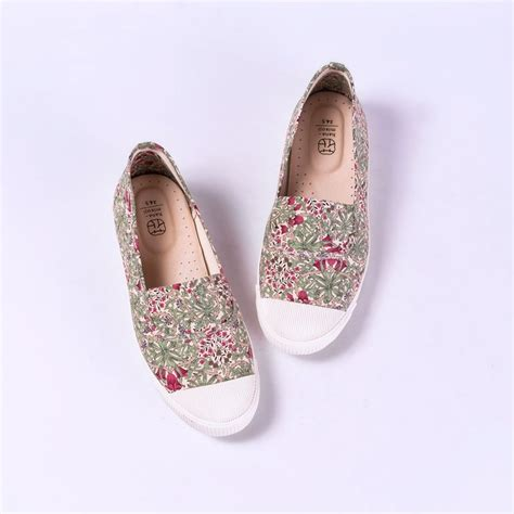 Hetty Handmade Shoes With Vintage Japanese Fabric Uppers by Comfortable Casual Flat Shoes Hanamikoji Handmade Shoes