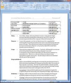 procedure writing templates period end review and closing policy and procedure word