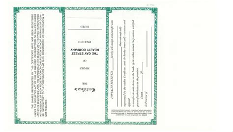 Corporate Stock Certificates Corporate Publishing Company Back Of Stock Certificate Template