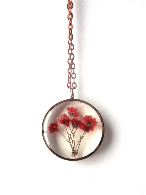 resin flowers for jewelry baby s breath resin pendant necklace real flowers in