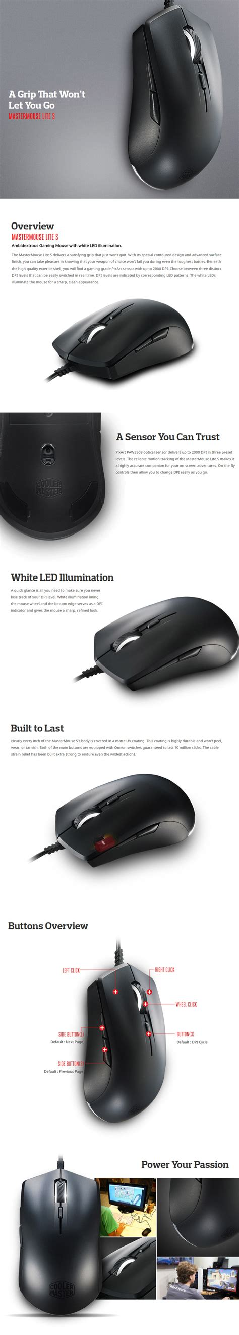 Cooler Master Gaming Mouse Mastermouse Lite S cooler master mastermouse lite s ambidextrous gaming mouse
