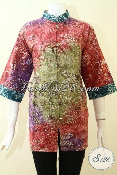 Dress Cewek Cs model kerah sanghai blus batik cewek model kerah shanghai