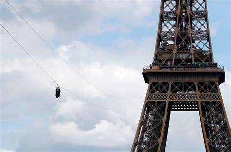 eiffel tower floor l a free zip line has opened at the eiffel tower