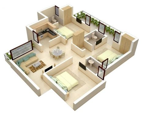 3 room 3d house plan 3 bedroom apartment house plans