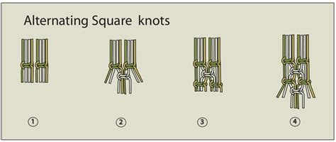 Macrame Square Knot Tutorial - ecocrafta macrame alternating square knots