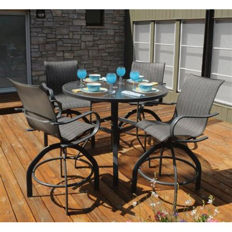 homecrest hill sling patio bar table set with swivel bar stools furniture for patio