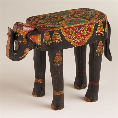 World Market Elephant L by Painted Elephant Wood Accent Table From Cost Plus World