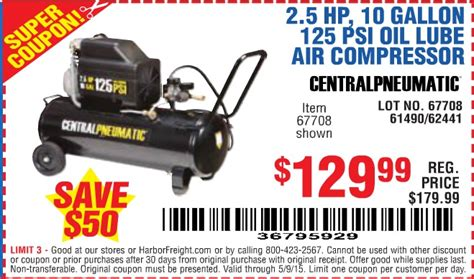 harbor freight coupon 2 5 hp 10 gallon 125 psi lube air compressor lot no 67708 61490