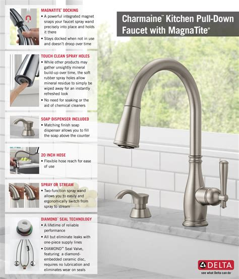 how to install a faucet in the kitchen delta charmaine single handle pull sprayer kitchen faucet with soap dispenser and magnatite