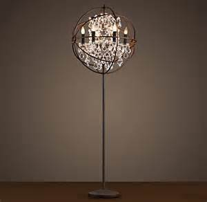 Iron Chandeliers With Crystals Foucault S Orb Clear Crystal Floor Lamp