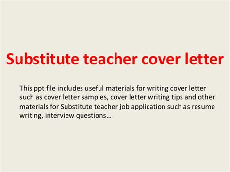 Thank You Letter To Substitute Substitute Cover Letter