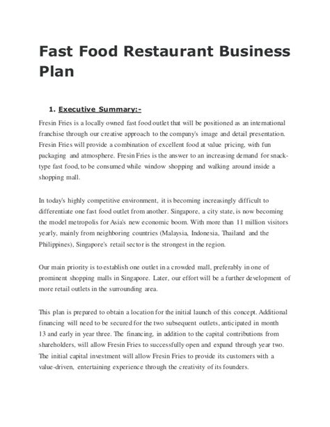 business plan template restaurant fast food restaurant business plan