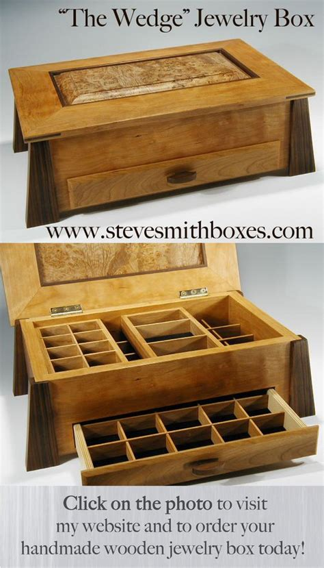 Handmade Jewellery Box Ideas - this handmade wooden jewelry box opens up to reveal two