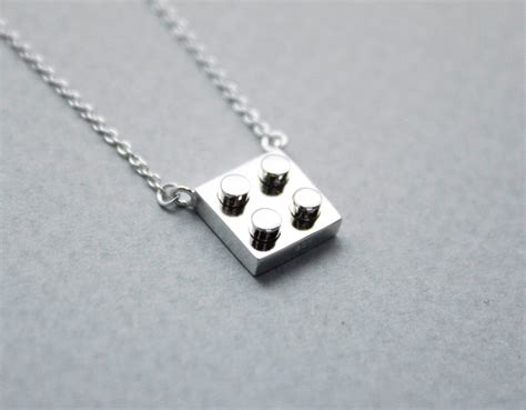 925 sterling silver lego block necklace geometric