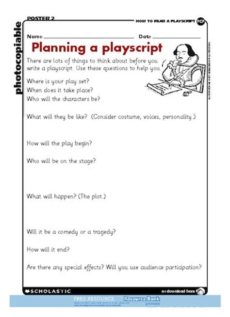 play script template playscript planner free primary ks2 teaching resource