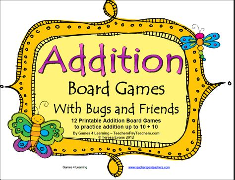 printable math addition board games fun games 4 learning june 2012