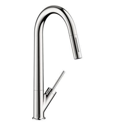 hansgrohe axor starck kitchen faucet hansgrohe axor starck single handle pull sprayer kitchen faucet in chrome 10821001 the