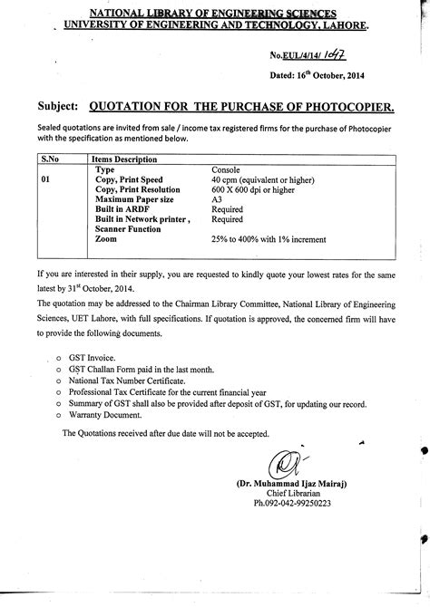 Apology Letter For Not Quoting For Tender Uet Lahore Of Engineering And Technology