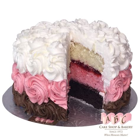 chocolate strawberry vanilla 1678 neapolitan layered cake abc cake shop