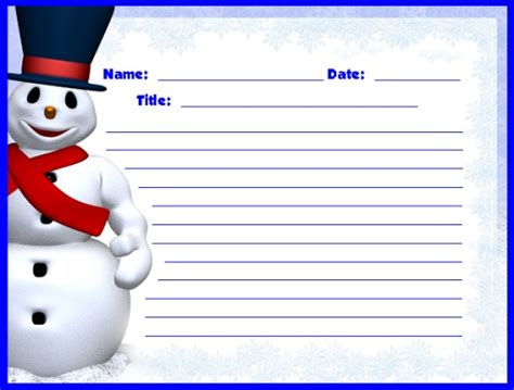 printable snowman stationery winter printable worksheets christmas and december