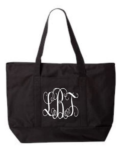 monogrammed zipper tote bag