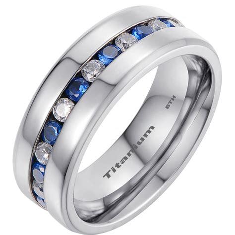 mens titanium wedding band ring  blue sapphire cubic