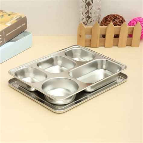 Top Seller Lunch Box Kotak Makan Bento Box Tempat Makan Sekat 4 popular stainless steel lunch tray buy cheap stainless steel lunch tray lots from china