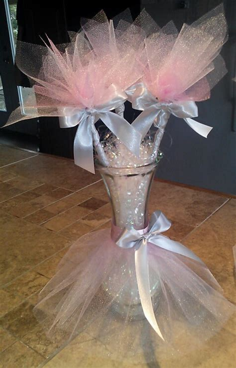 Tutu vase centerpieces with tulle flowers perfect for a table
