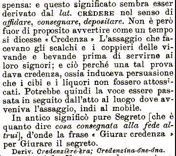 credenza vocabolario etimologia credenza