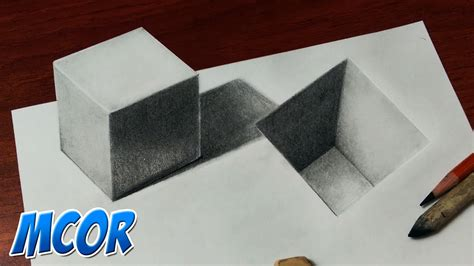 como hacer dibujos en 3d faciles paso a paso como dibujar un cubo y un hueco en 3d youtube