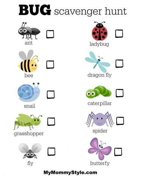 kids bug and insects worksheets bug scavenger hunt bugtheme bugideas my mommy style