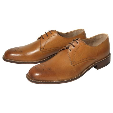 ben sherman pliyn leather derby shoes in brown for