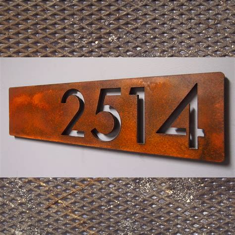 house numbers custom modern floating house numbers horizontal offset in rusted steel