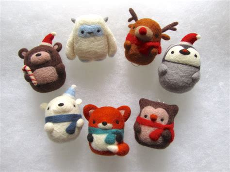 christmas decorations set of 7 needle felted by
