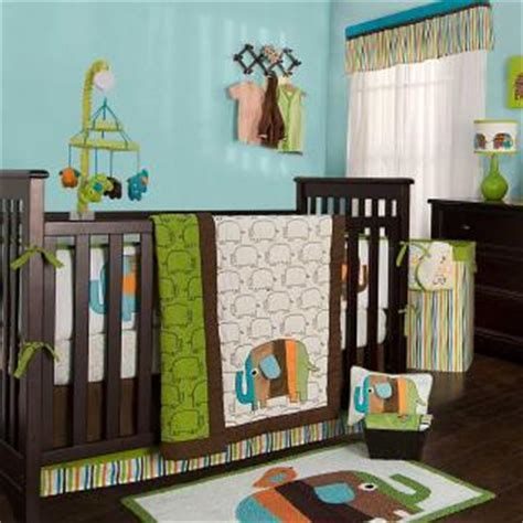 Green Elephant Crib Bedding Green And Brown Elephants Neutral 4p Baby Crib Bedding Set