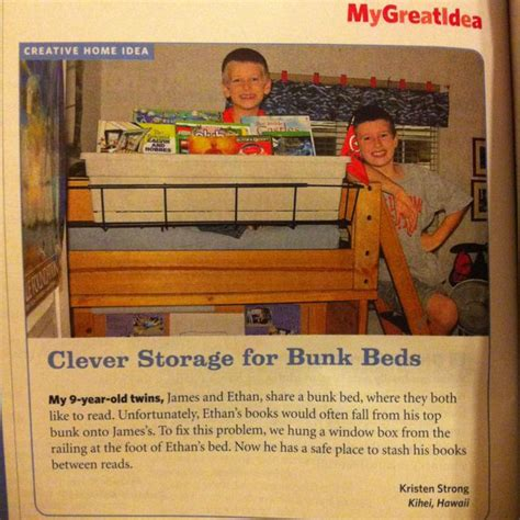 bunk bed shelf attachment book storage for bunk beds using a window box as seen in