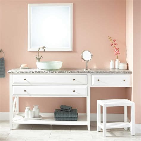 Bathroom Vanity With Makeup 72 Quot Glympton Vessel Sink Vanity With Makeup Area White Bathroom