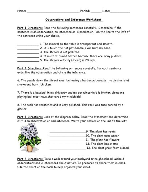 Inference Worksheets by Observations And Inference Worksheet