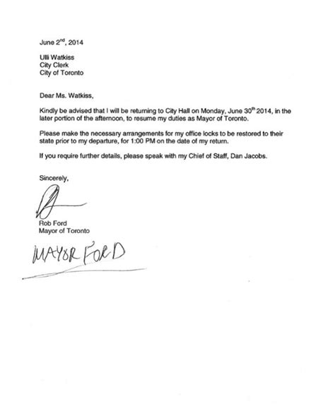 Release Letter For Work Toronto Mayor Rob Ford To Return To Work June 30 Ctv News