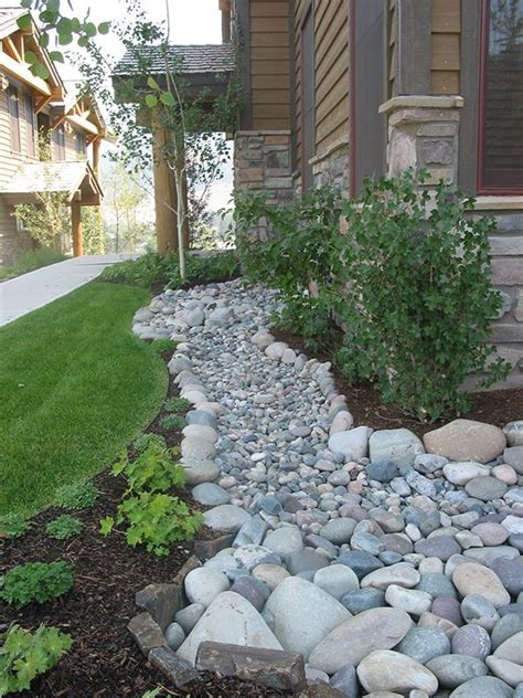 River Rock Landscaping Ideas Creek Bed Landscaping Ideas And Erosion Decks Wood Drainage Firepits Ideascapes Lighting