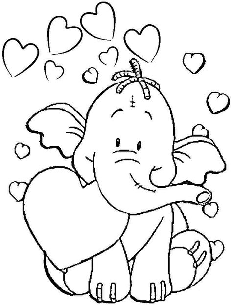 elephant 94 animals printable coloring pages 94 elephant valentine coloring page love weekly