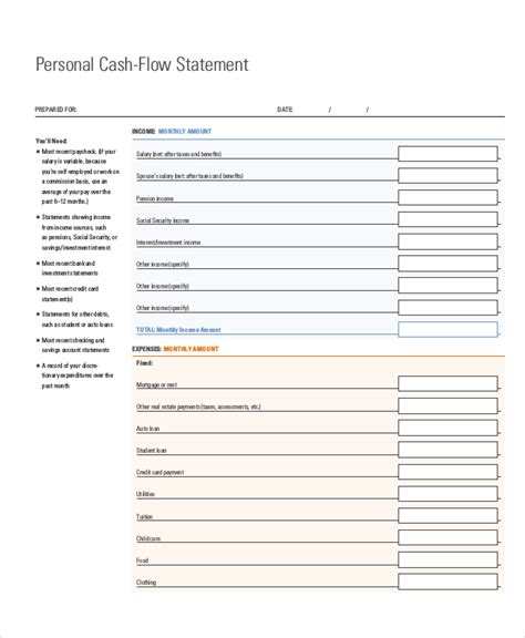 cash flow statement 12 free pdf word documents