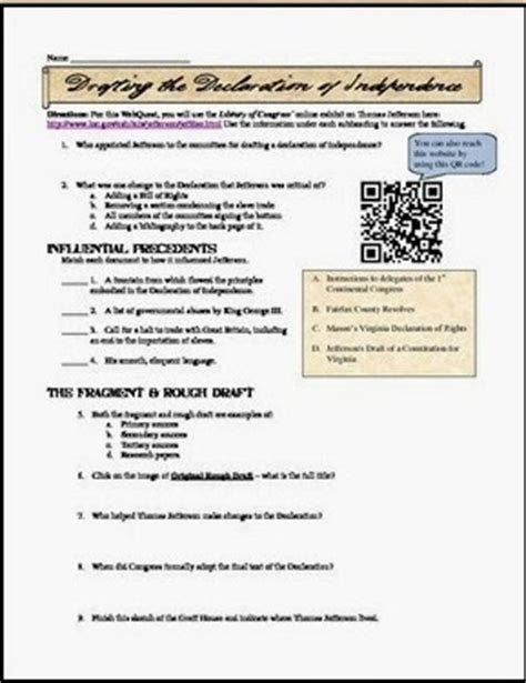 Declaration Of Independence Student Worksheet Answers by Students Of History New Declaration Of Independence