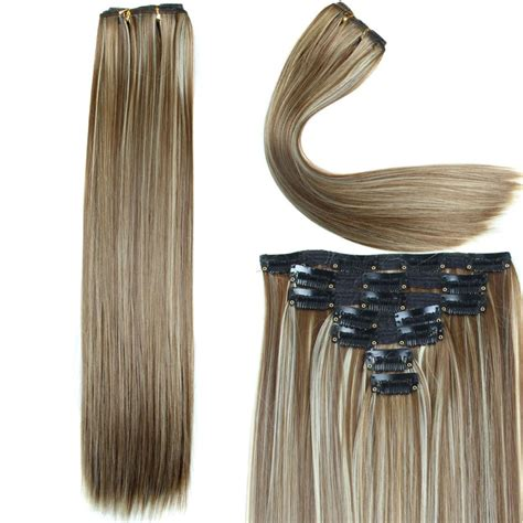 synthetic hair extensions clip in hair extension 23inch 160g 16 7pcs set
